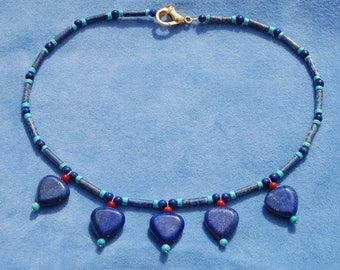 Heart of Egypt Collar Necklace – ancient Egypt – kemetic – lapis lazuli, red bamboo coral, and turquoise howlite