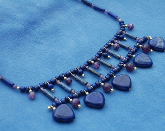 Ancient Waters Pectoral Style Necklace – ancient Egypt – kemetic – lapis lazuli and amethyst