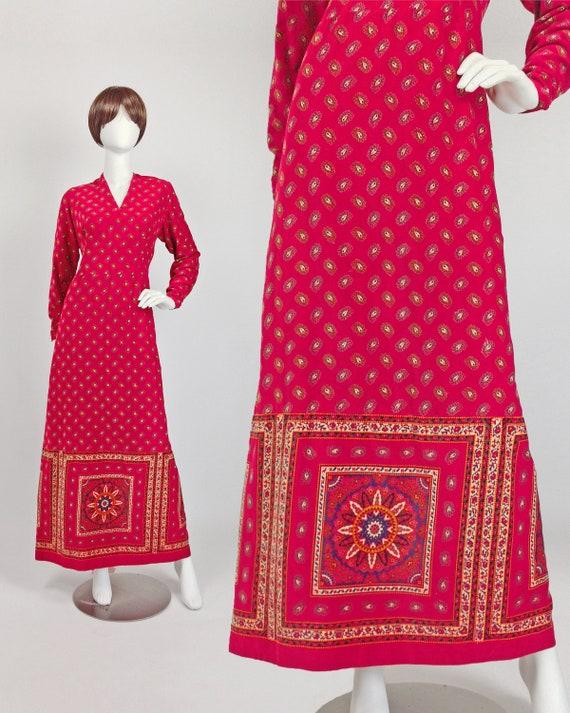 70s Maxi Dress, Boho Maxi Dress Long Sleeve, Paisl
