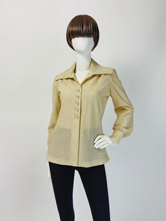 Vintage 60s Mod Top, Puffed Sleeve Blouse, Metalli