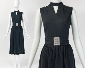 Vintage 60s Cocktail Dress, Mod Midi Dress, Belted Dress, Tea Length Dress, 1960s Clothing, Small Medium, Size 6 8 US, 10 12 UK, W428