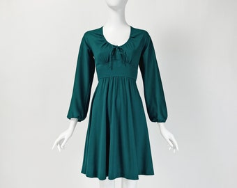 Vintage 70s Mini Dress, Long Sleeve Mini Dress, Hunter Green Dress, Puffed Sleeve Dress, 1970s Clothing, XS Small Size 2 4 US, 6 8 UK, B336