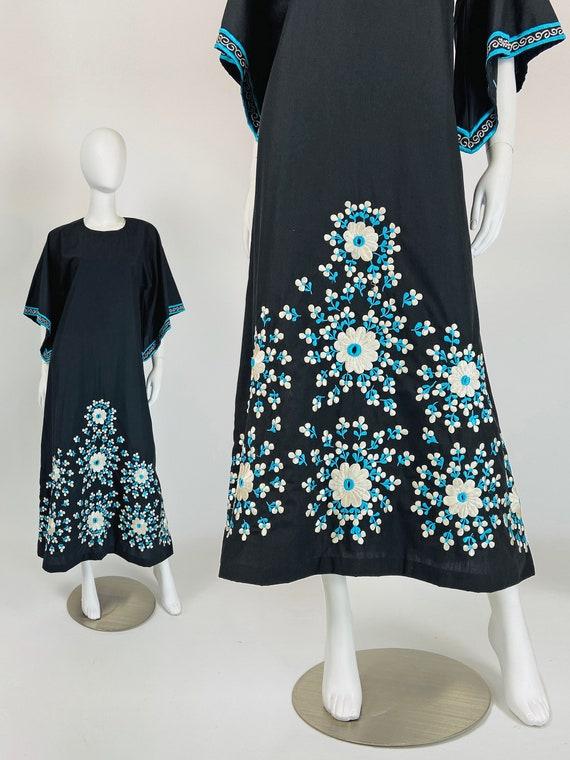 Vintage 70s Maxi Dress, Long Boho Dress, Embroider