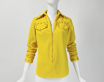 Vintage 70s Top, 70s Polyester Shirt, Wide Collar Shirt, Studded Top, 70s Mod Top, Zip Front Top, Small Size 4 6 US, 8 10 UK, Y449