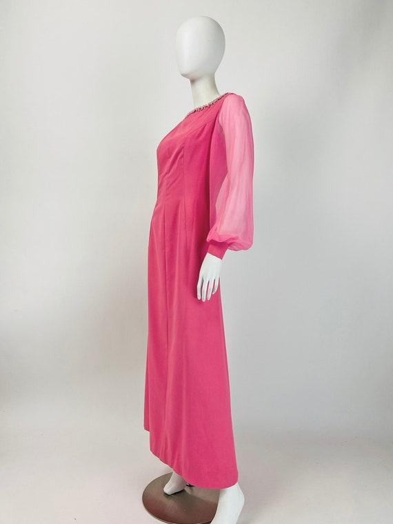 Vintage 60s Mod Maxi Dress, Sheer Sleeve Dress, 7… - image 6