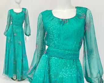 Vintage Prom Dress, Long Prom Dress Bishop Sleeves, Chiffon Maxi Dress with Sleeves, Chiffon Dress, 60s 70s Dress, Medium Size 8 US, 12 UK