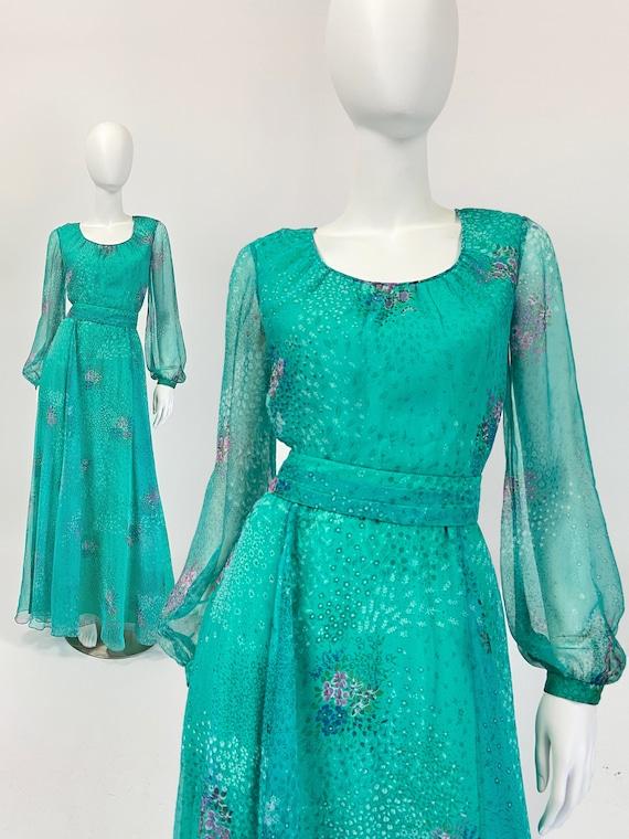 Vintage Prom Dress, Long Prom Dress Bishop Sleeves