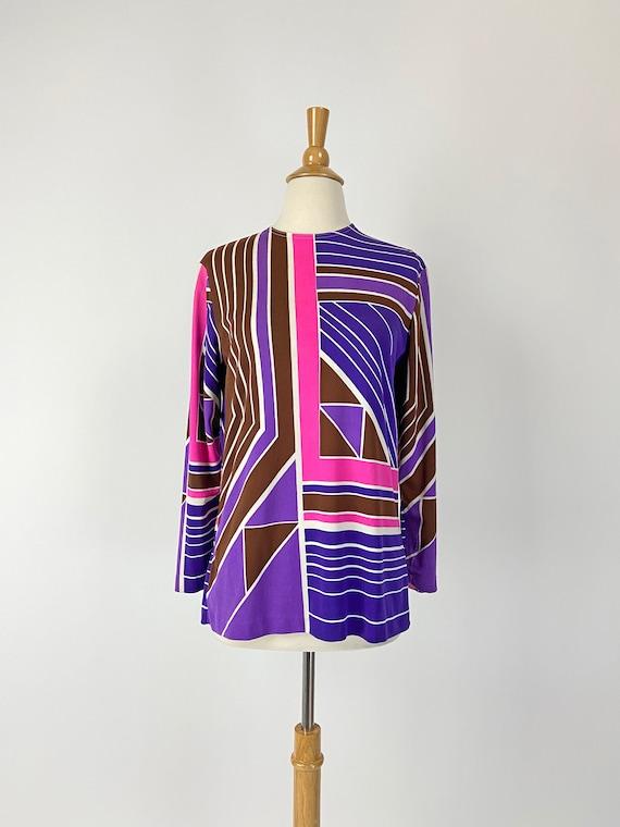 Vintage 60s Mod Geometric Tunic Top, Long Top, 196