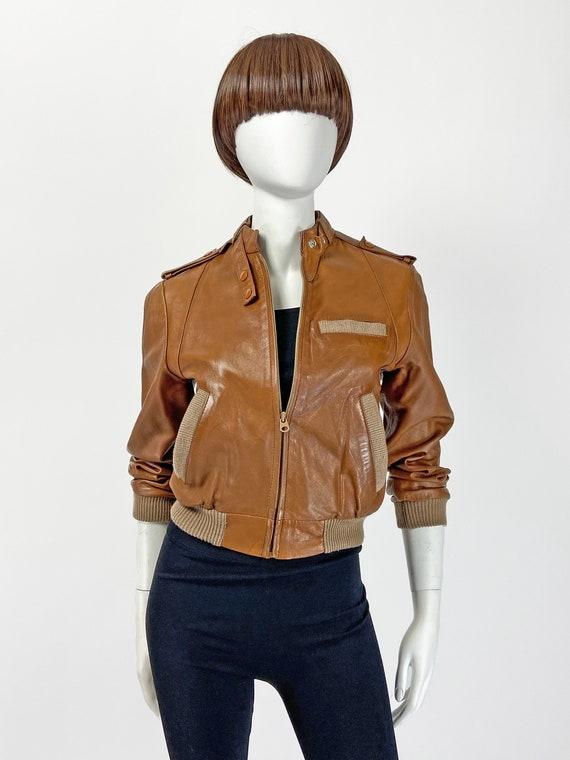 Nappa Leather Jacket women, Leather Bomber 80s Jac