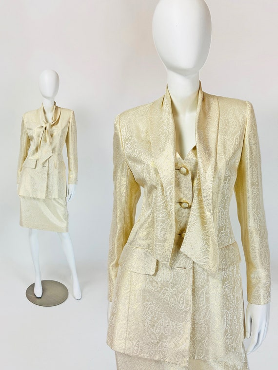 Vintage 90s Silk Skirt Suit, Metallic Gold Suit, J