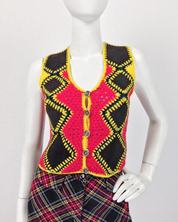 Vintage 70s Vest Top, Patchwork Vest, Crochet & S… - image 1