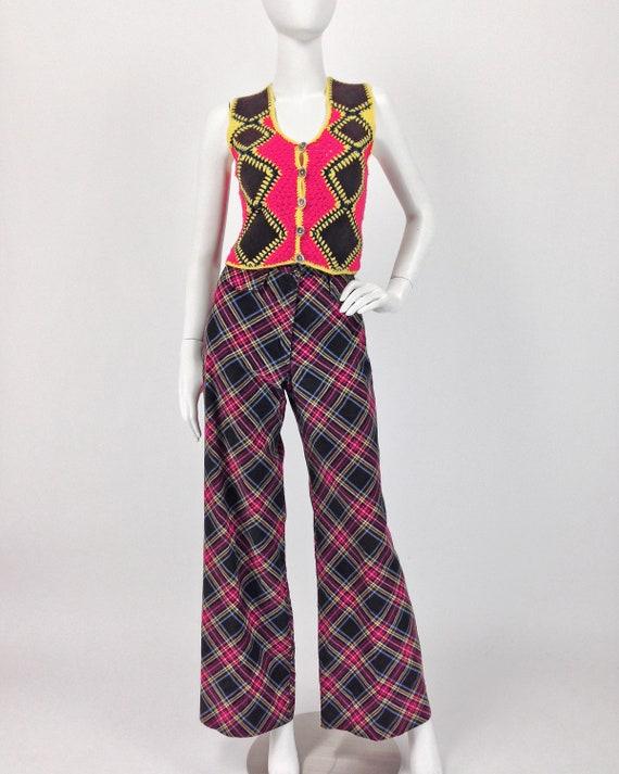 Vintage 70s Vest Top, Patchwork Vest, Crochet & S… - image 2