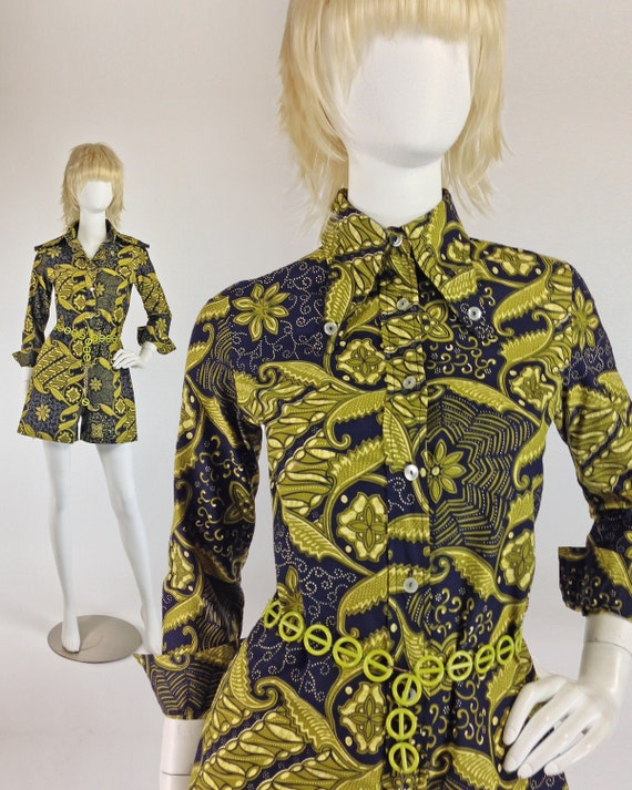 Vintage 60s Playsuit, PsYcHeDeLiC Romper, Mod Play