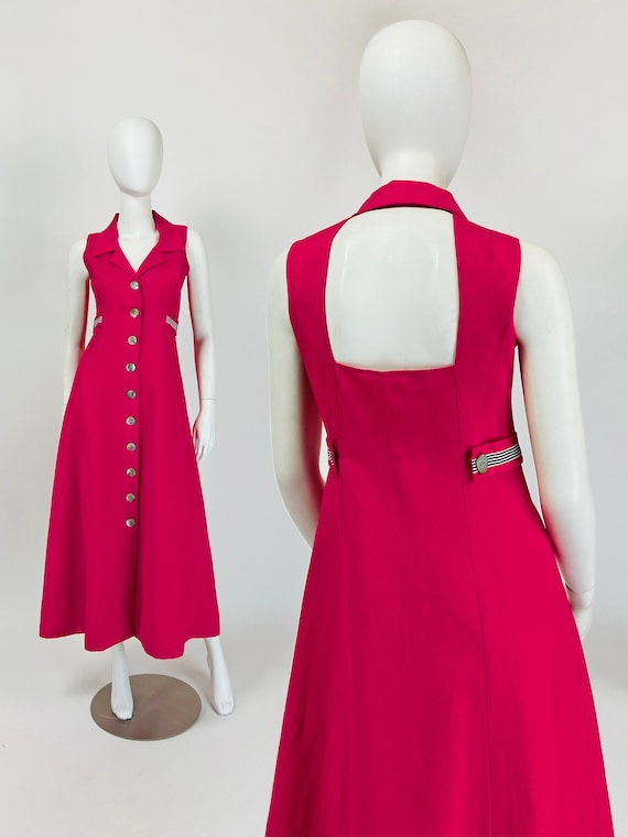 Vintage 90s Maxi Dress, Sailor Dress, Backless Max