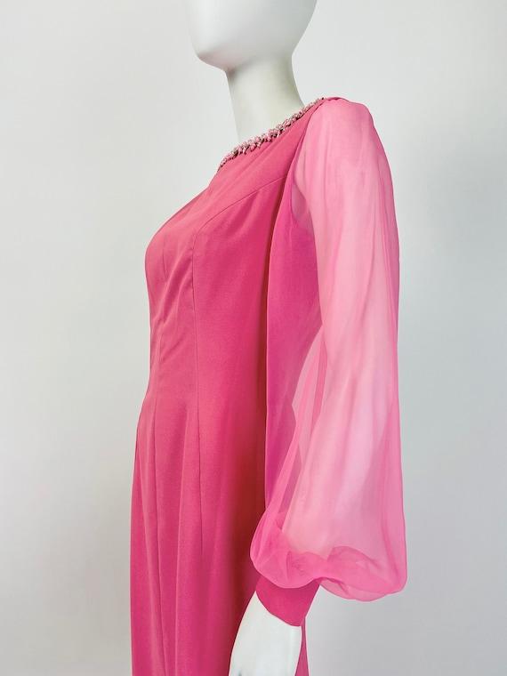 Vintage 60s Mod Maxi Dress, Sheer Sleeve Dress, 7… - image 5