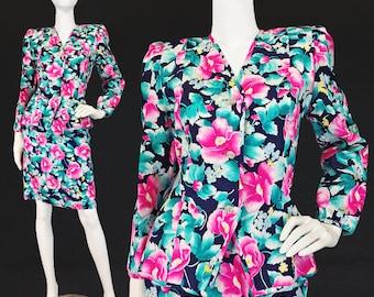 M, Vintage 90s Floral Print Silk Skirt Suit, Shoulder Pads, 40s Style, Tailored, Coordinated Set, CoOrd, Blazer, Retro, Medium, Size 8 10