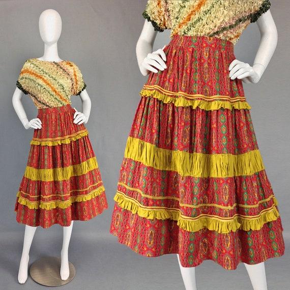 Vintage 50s Patio Skirt, Mexican Fiesta Skirt, Roc