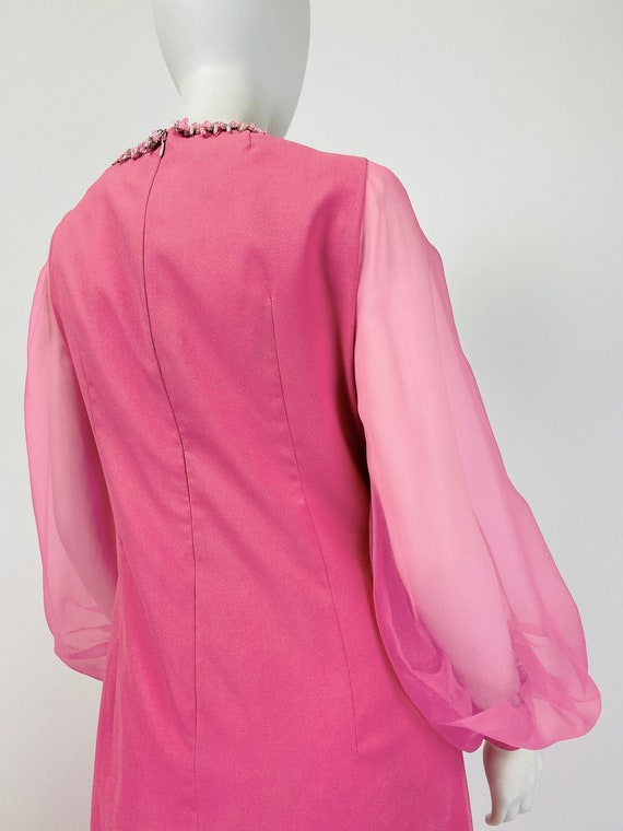 Vintage 60s Mod Maxi Dress, Sheer Sleeve Dress, 7… - image 8