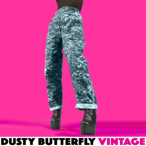 Vintage Blue Digi Camo Army Pants, Womens Large XL