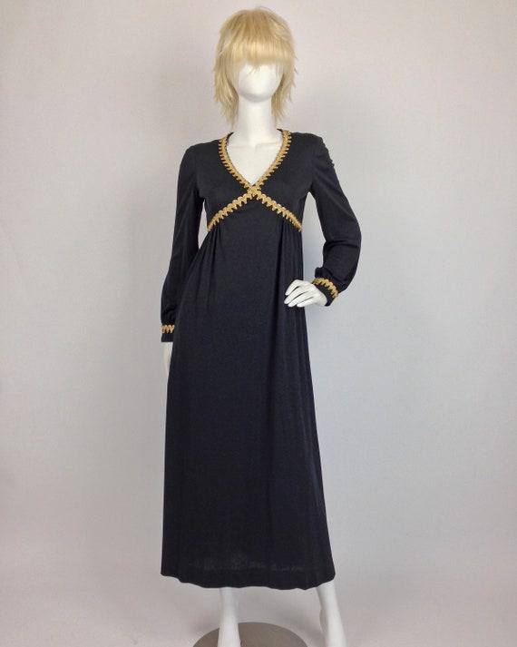 Long Sleeve Maxi Dress Empire Waist, 70s Maxi Dre… - image 2