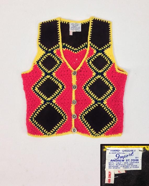 Vintage 70s Vest Top, Patchwork Vest, Crochet & S… - image 7
