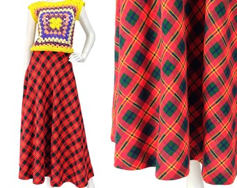Vintage Clothing, 70s Plaid Skirt M L, Red Plaid Maxi, Wool Maxi Skirt, Red Plaid Skirt, Tartan Plaid Skirt, 70s Wool Skirt, SIZE M L