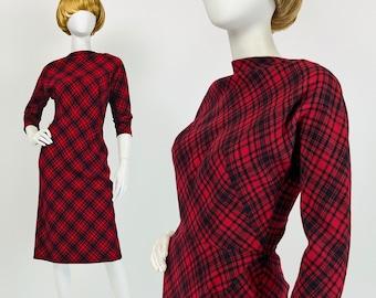50s Pauline Trigere Dress, Designer Vintage Dress, 50s Wiggle Dress, 1950s Wool Dress, Plaid Dress, XS Small Size 2 4 US, 6 8 UK Y438