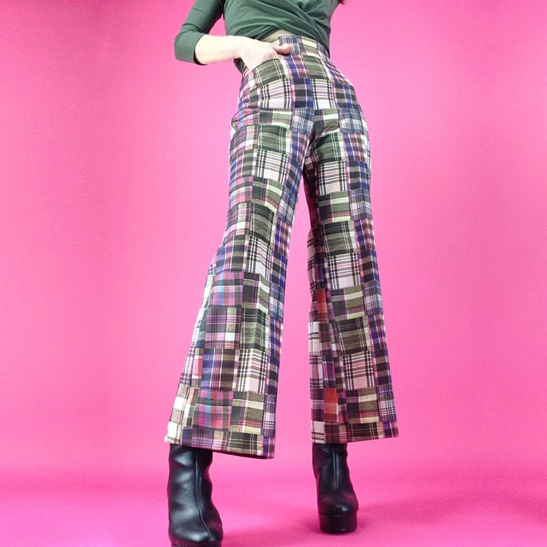 Kitsch Fashion Hipster Mod Fashion 1970s Plaid Pants Womens Medium Vintage 70s Patchwork Bell Bottoms M 8 10 BellBottom Pants