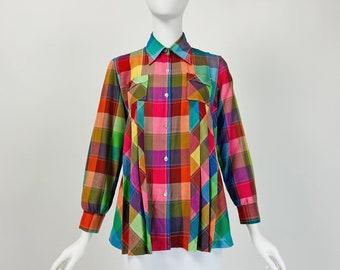 Vintage 70s Shirt, Colorful Blouse, Cotton Blouse Plaid, Patchwork Shirt, Pleated Blouse, Geometric Top, Medium Size 8 US, 12 UK, G111