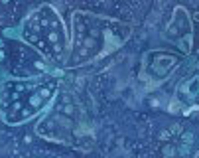 "Blue Butterfly Batik  by Wilmington Prints 22192-441  44"" wide fabric 100% cotton"