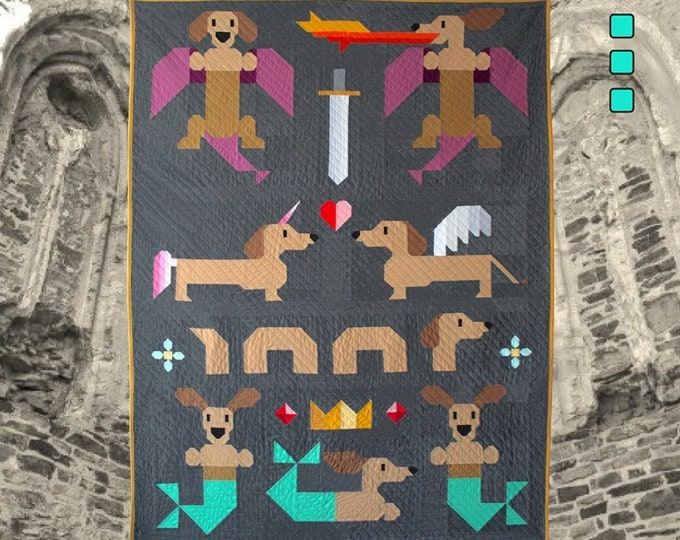 """Mythical Wieners 60""""x75"""" Pattern Only Art East"""