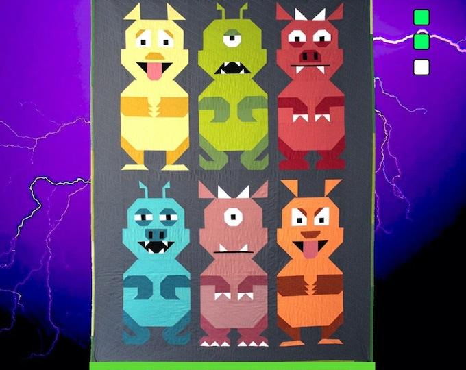 """The Monster Mash. Monster Quilt Blocks 13.5""""x33"""" Pattern Only"""