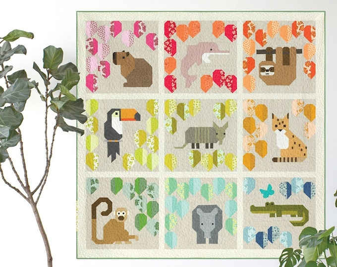 Rainbow Rainforest by Elizabeth Hartman Sampler Quilt and Pillow Pattern PATTERN ONLY