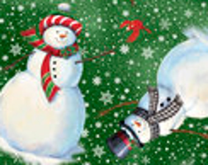 """Winter Greetings Snow Peoples for QT Fabrics 28338-F  100% cotton 44/45"""" wide fabric"""