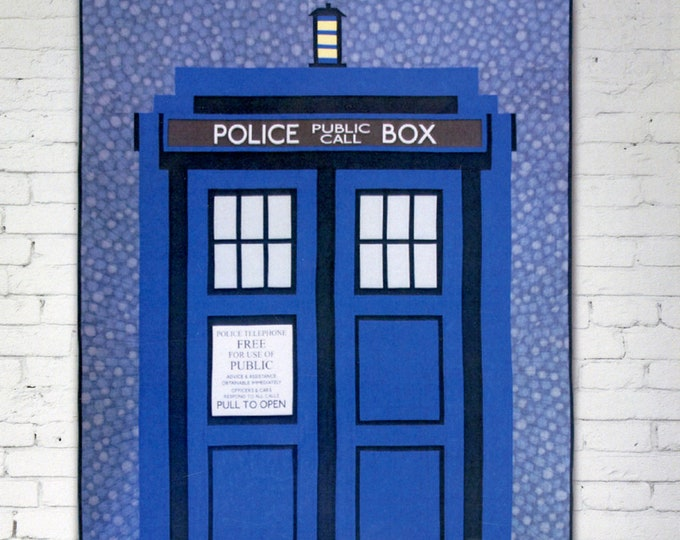 """Relatively Dimensional Dr Who Tardis Quilt 50"""" x 80"""" Pattern Only"""