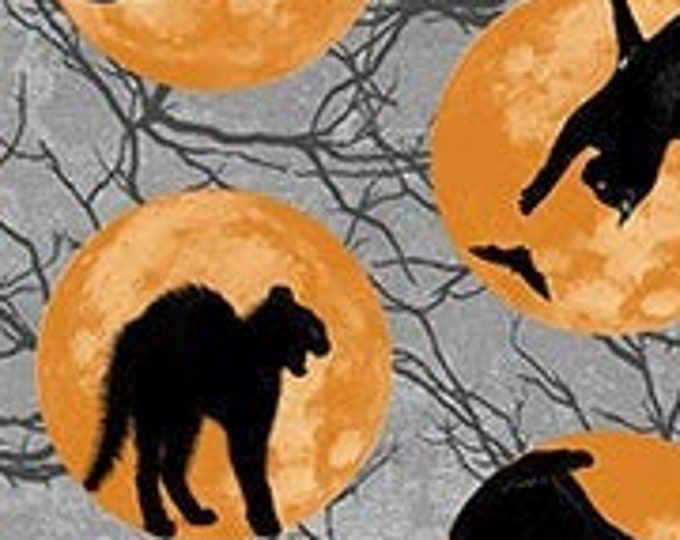 """Black Cat Capers Cats in Moon by  Northcott   24118-95  100% Cotton 44/45"""" Wide Fabrics"""