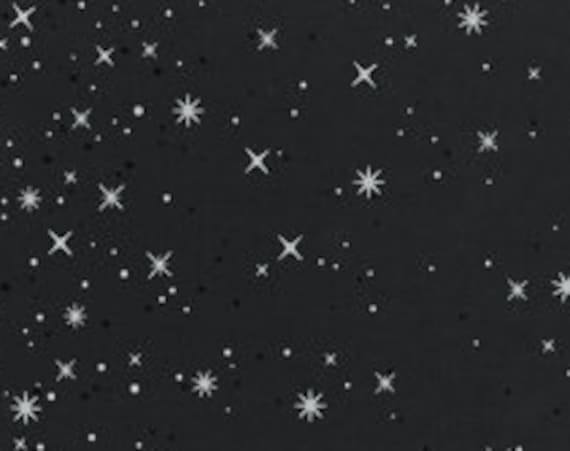 "Ombre Fairy Dust (silver metallic on soft black)  by Moda 10871-331M  100% Cotton 44/45"" wide fabric"