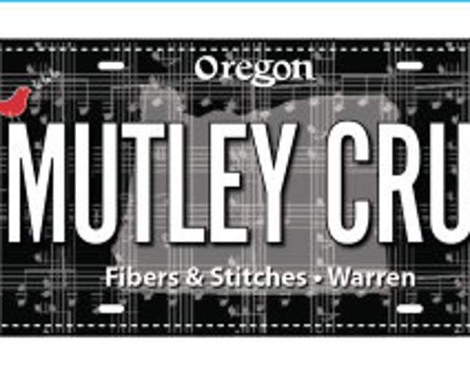 2018 Row by Row Fabric License Plate *Mutley Crue*
