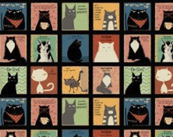 "Snarky Cats Blocks from Clothworks Y3058-3  44"" wide 100% Cotton Fabric"