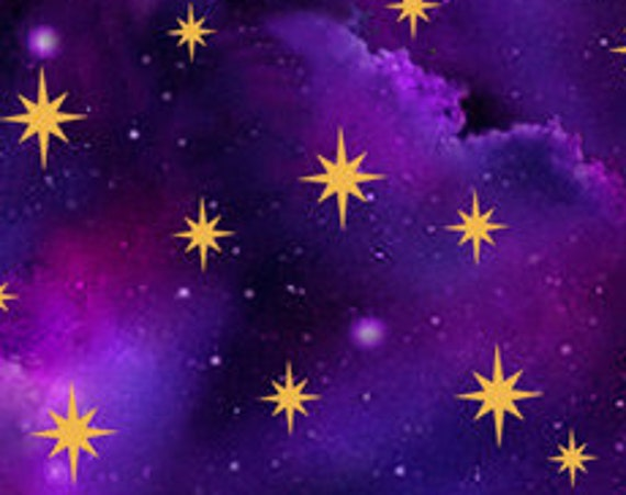 """In The Beginning Starry Sky Purple  by QT Fabrics 27674-V  100% Cotton 44/45"""" Wide Fabrics"""