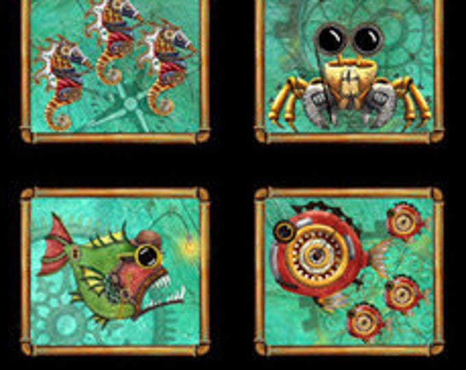 "Aquatic Steampunkery  Panel  24"" by QT Fabrics  28390 - J 44"" wide 100% Cotton (#1)"