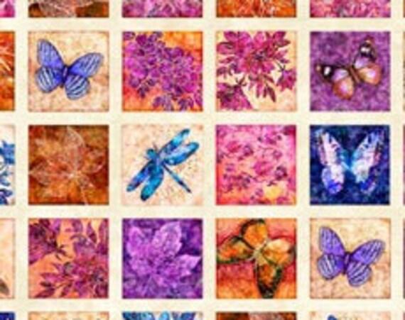 Flora Luna Floral Pictures by  QT Fabrics  1 yard Panel 100% cotton (#6)