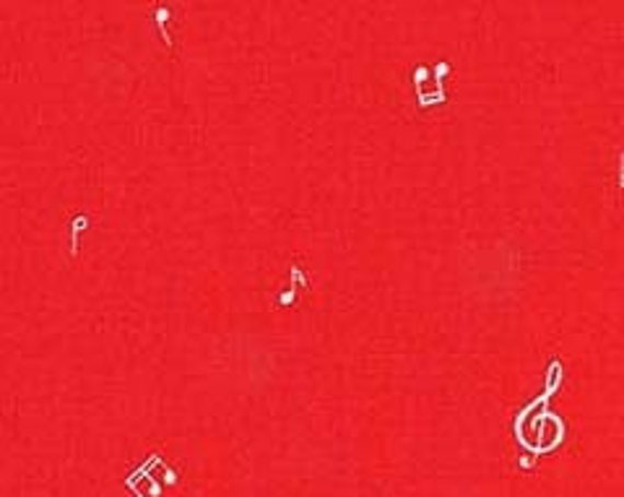 "Hit The Right Note Red Michael Miller 44"" wide 100% Cotton Fabric"