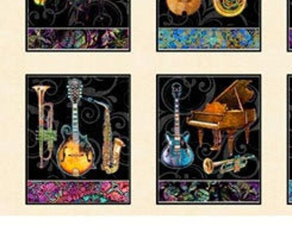 """Fine Tuning by  Dan Morris 26843-E QT Fabrics 24"""" Panel Cream 100% cotton (#35)"""