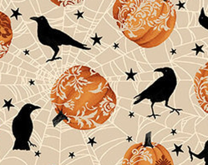 """Spooky Night by Studio E   Pumpkins and Crows 5719-33   44"""" wide 100% Cotton Fabric"""
