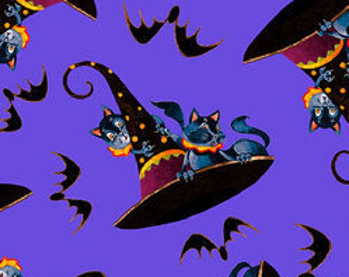 """Witchful Thinking - Hats, Cats, and Bats  by Blank Quilting  1536-55  100% cotton 44/45"""" wide fabric"""