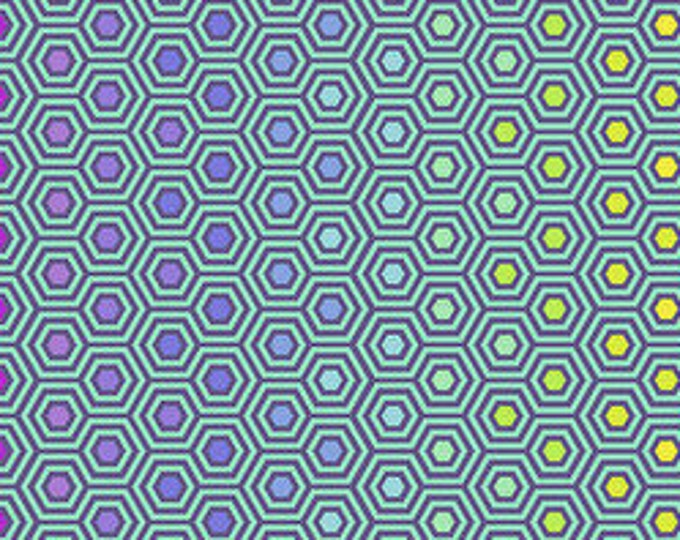Rainbow Hexies Peacock  by Tula Pink for Free Spirit  44-inch Wide Cotton Fabric Yardage 100% cotton