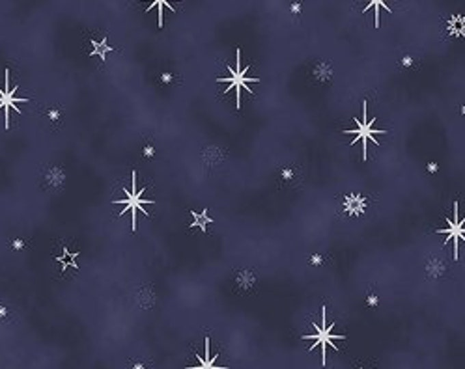 """S- Christmas is Near Silver Stars from Stof Fabrics of Denmark 4598-602  Navy  44"""" Wide 100% Cotton"""