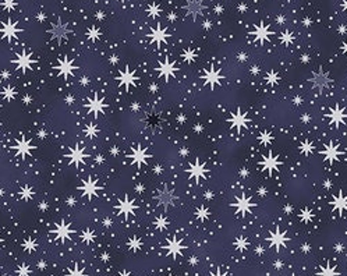 """S- Christmas is Near  Packed Stars from Stof Fabrics of Denmark 4598-605  Navy  44"""" Wide 100% Cotton"""