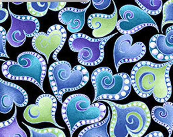 """Swirling Hearts Black from Catitude Singing the Blues by Benartex  12065P-12 44"""" Wide 100% Cotton"""